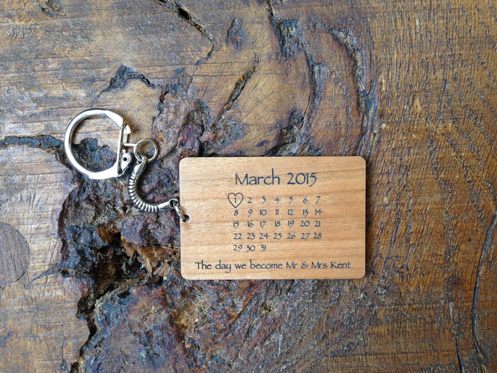 "Personalised ""The Day You Became My ...."" Wooden Calendar Keyring"