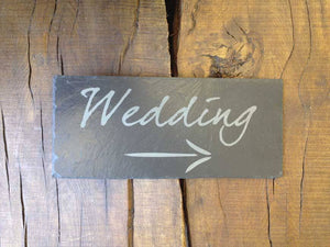 Personalised Hand Cut Natural Slate Wedding Plaque 049