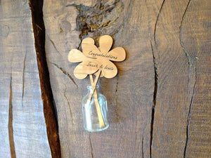 Wood Plaque - Personalised Mini Demijohn With Wooden Flora 057