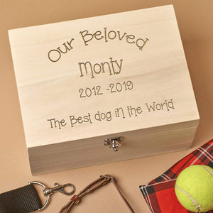Pet Memorial Box - Personalised Pet Memorial Wooden Keepsake Box With Metal Clasp
