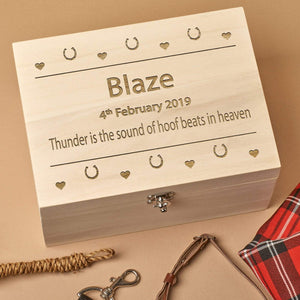 Pet Memorial Box - Personalised Wooden  Horse Pet Memorial Box - Hooves And Hearts