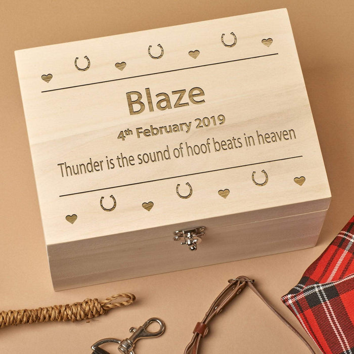 Personalised Wooden  Horse Pet Memorial Box - Hooves and Hearts