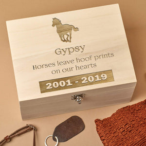 Pet Memorial Box - Personalised Wooden Horse Pet Memorial Keepsake Box - Horse