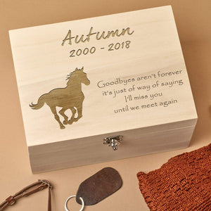 Pet Memorial Box - Personalised Wooden  Horse Pet Memorial Keepsake  Box - Running Wild