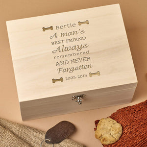 Pet Memorial Box - Personalised Wooden Pet Memorial Box - Bones