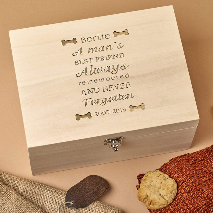 Personalised Wooden Pet Memorial Box - Bones