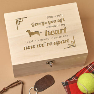 Pet Memorial Box - Personalised Wooden Pet Memorial Box - Heart