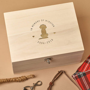 Pet Memorial Box - Personalised Wooden Pet Memorial Box - In Memory Of Circle