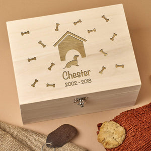 Pet Memorial Box - Personalised Wooden Pet Memorial Box - Kennel