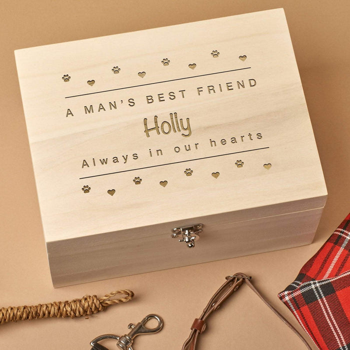 Personalised Wooden Pet Memorial Box - Small Paws
