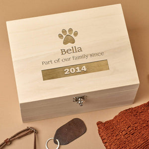 Pet Memorial Box - Personalised Wooden Pet Memorial Keepsake Box - Large Paw
