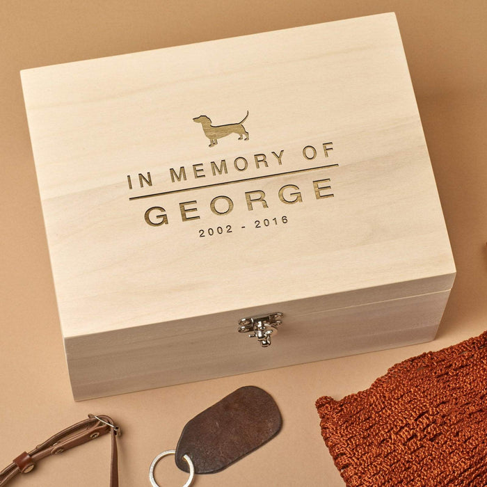 Personalised Wooden Pet Remembrance Box - In memory Of