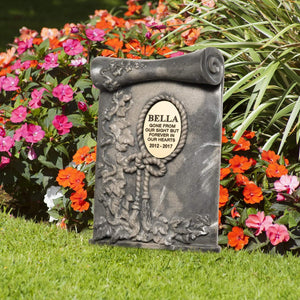 Pet Memorial Plaque - Personalised Pet Memorial Grave Marker Headstone Plaque - Scroll