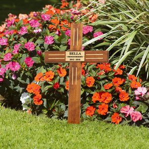 Pet Memorial Plaque - Personalised Wooden Pet Memorial Grave Marker  - Cross
