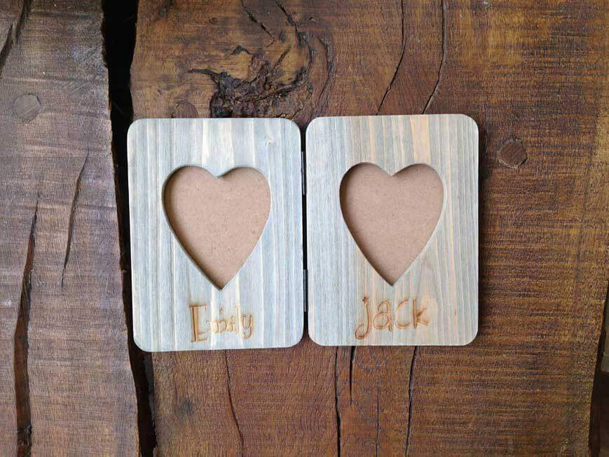 Photo Frame - Personalised Rustic Wooden Double Hinged Folding Photo Frame With Heart Inset 067