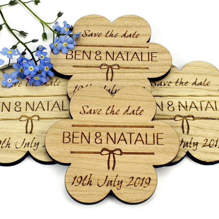 Save the Date Wooden Magnet Wedding Invitation - Flower - Bow