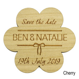 Save The Date - Save The Date Wooden Magnet Wedding Invitation - Flower - Bow