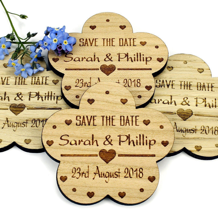 Save the Date Wooden Magnet Wedding Invitation - Flower - Heart