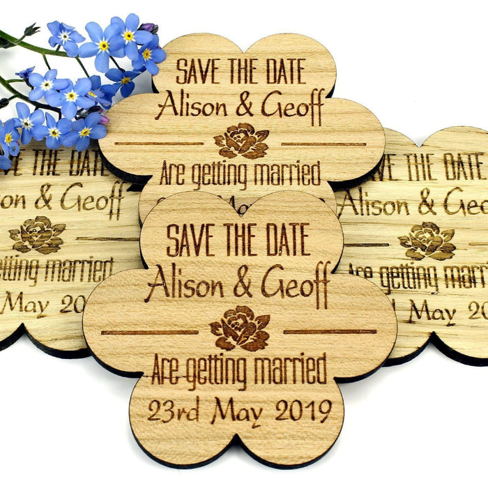 Save the Date Wooden Magnet Wedding Invitation - Flower - Rose