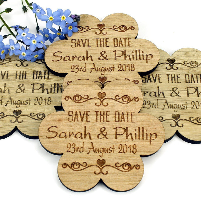 Save the Date Wooden Magnet Wedding Invitation - Flower - Twirl