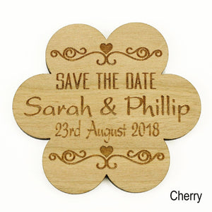 Save The Date - Save The Date Wooden Magnet Wedding Invitation - Flower - Twirl
