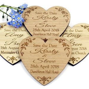 Save The Date - Save The Date Wooden Magnet Wedding Invitation - Heart - Floral