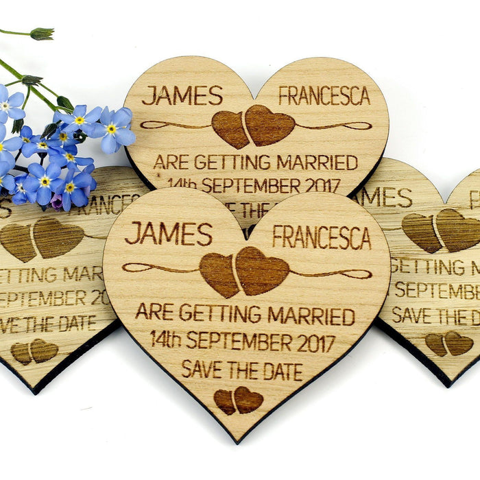 Save the Date Wooden Magnet Wedding Invitation - Heart - Two Hearts