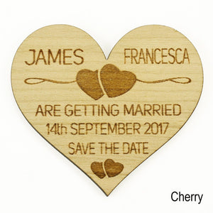 Save The Date - Save The Date Wooden Magnet Wedding Invitation - Heart - Two Hearts