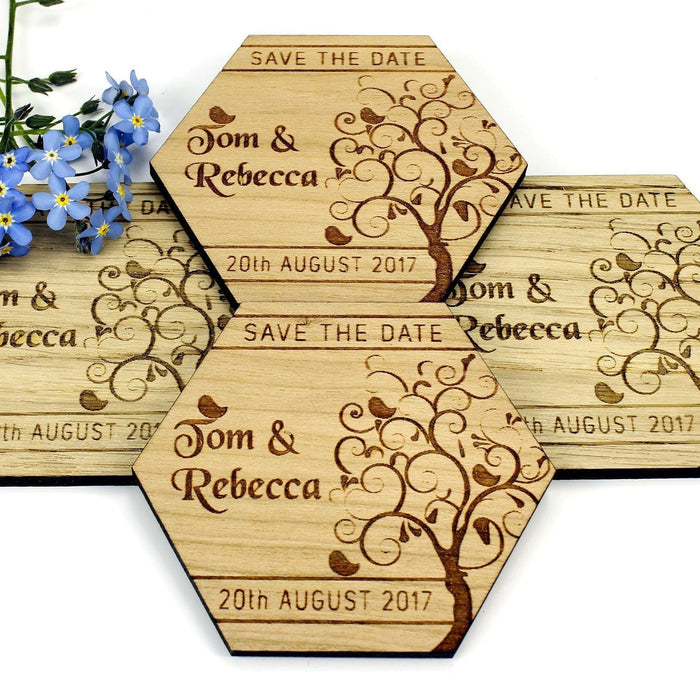 Save the Date Wooden Magnet Wedding Invitation - Hexagon - Tree