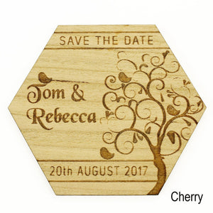 Save The Date - Save The Date Wooden Magnet Wedding Invitation - Hexagon - Tree