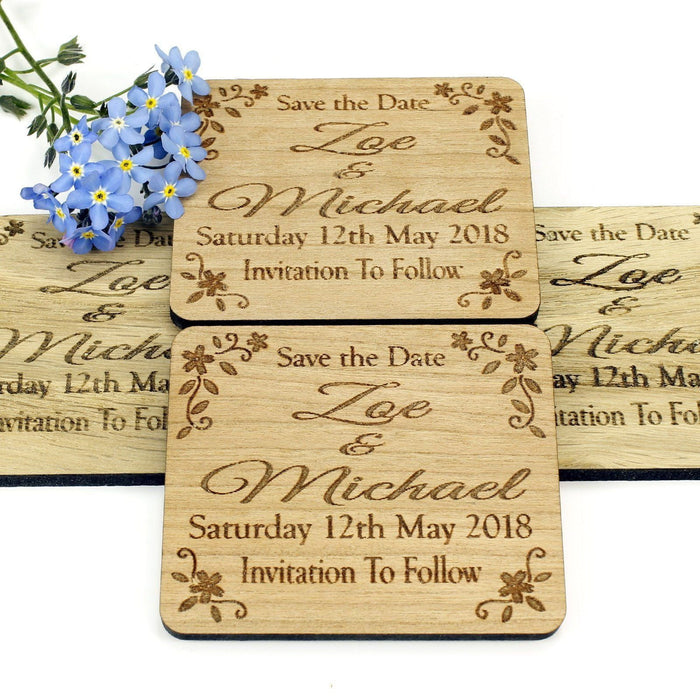 Save the Date Wooden Magnet Wedding Invitation - Rectangle- Floral