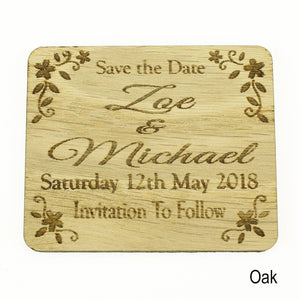 Save The Date - Save The Date Wooden Magnet Wedding Invitation - Rectangle- Floral