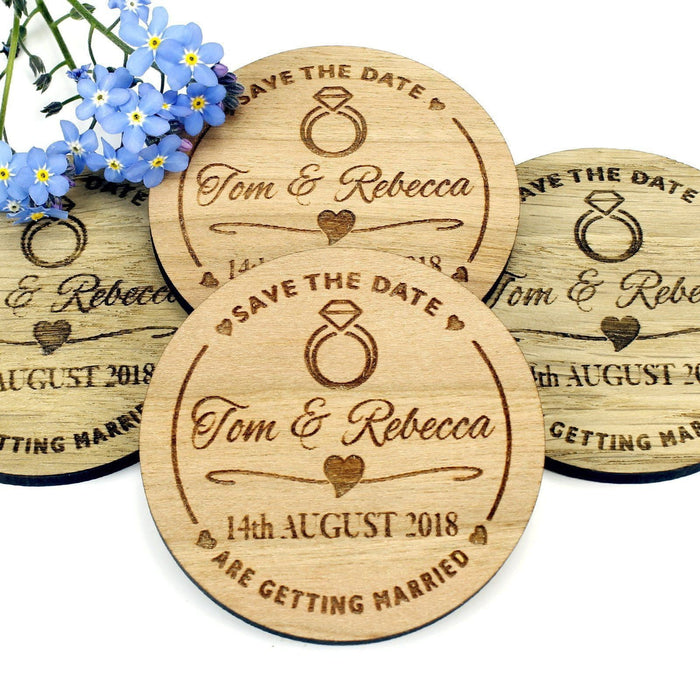 Save the Date Wooden Magnet Wedding Invitation - Round - Diamond Ring