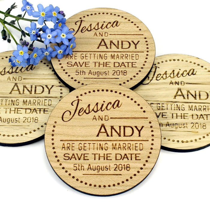 Save the Date Wooden Magnet Wedding Invitation - Round - Dots