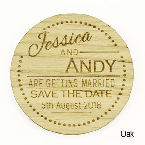 Save The Date - Save The Date Wooden Magnet Wedding Invitation - Round - Dots