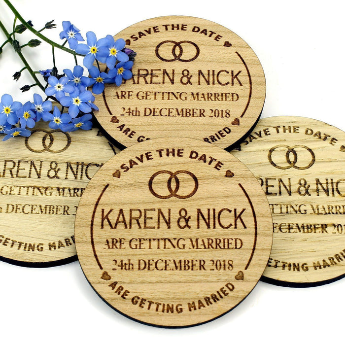Save the Date Wooden Magnet Wedding Invitation - Round - Two Rings