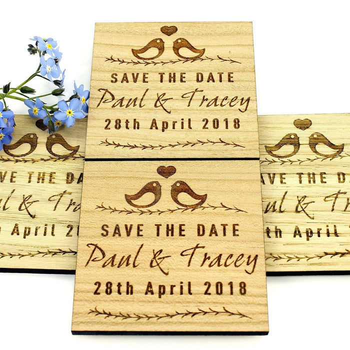 Save the Date Wooden Magnet Wedding Invitation - Square - Love Bird