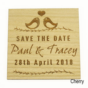 Save The Date - Save The Date Wooden Magnet Wedding Invitation - Square - Love Bird