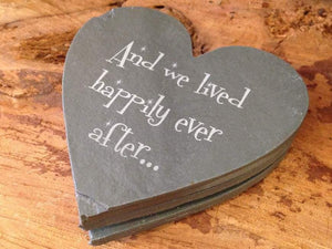 Personalised Natural Rustic Slate Heart Shaped Coasters (Set of Four) 059