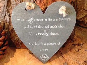 Personalised Mini Natural Rustic Slate Heart Shaped Plaque with Twine Detail 058