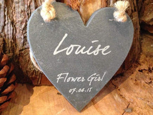 Slate Plaque - Personalised Mini Natural Rustic Slate Heart Shaped Plaque With Twine Detail