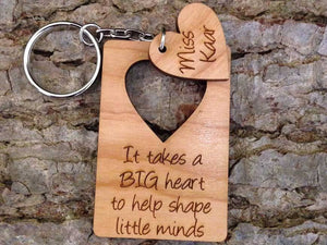 Key Ring - Personalised Wooden Teacher Thank You Keyring 110