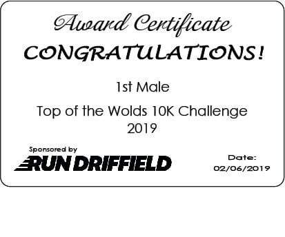 Top of the Wolds 10K Challenge 2019 - Awards