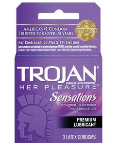 Trojan Her Pleasure Condoms - Box of 3 | Lavish Sex Toys