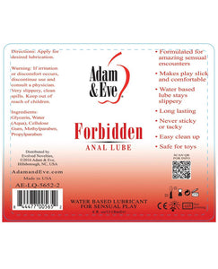 Adam & Eve Forbidden Anal Water Based Lube - 4oz | Lavish Sex Toys