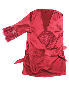 Stretch Satin Robe w/Eyelash Lace Sleeve Merlot OS/XL