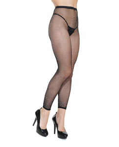 Footless Fishnet w/Rhinestone Pantyhose Black O/S