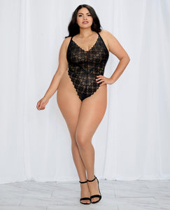 Stretch Lace Teddy & Sheer Mesh Maxi Skirt w/Adjustable Straps & G-String Black 1X | Lavish Sex Toys