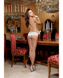 Stretch Lace Open Crotch Short - White
