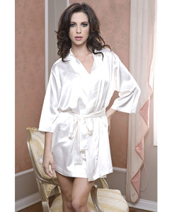 Satin 3/4 Sleeve Robe w/Matching Sash - White